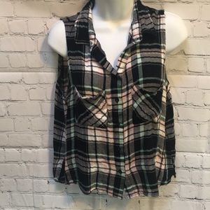 Polly & Esther button down plaid crop top